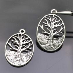 Pendenti albero della vita 24x30mm in metallo colore argento 2 pz