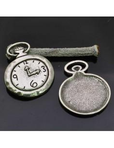 PENDENTE orologi Ciondoli Orologi Cipolla 32x28 mm 2 Pz per bigiotteria.