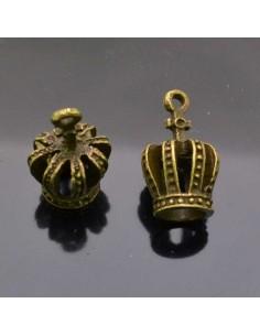 ciondolo corona PENDENTE charms corona bronzo 12x22 mm 2pz per bigiotteria