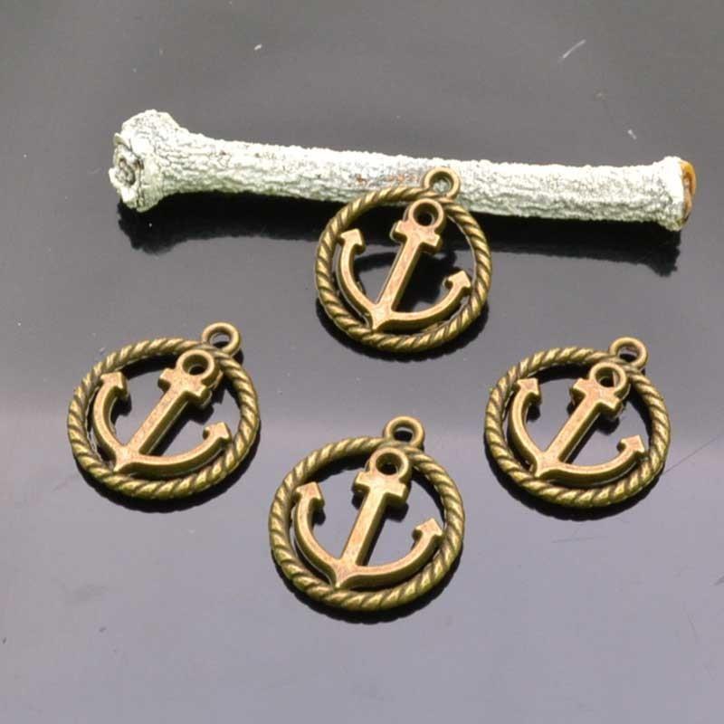 Charm Ciondoli Tondo Ancora colore bronzo 15x18 mm 4 Pz.