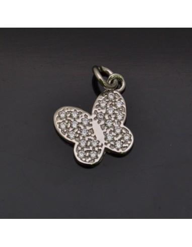 Ciondolo Farfalla con brillantini 12x13 mm con anella 5 mm in argento 925% Made in Italy