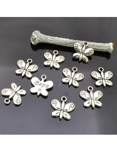 Ciondoli charms Farfalle col argento 13mm 9 Pz.per per bigiotteria