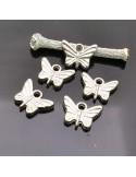 Farfalla ciondolo charms Farfalle colore argento 13x19 mm 5 Pz per bigiotteria