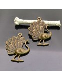 Ciondolo pavone BRONZO Charm pendente pavone 26X36 MM 2Pz per bigiotteria