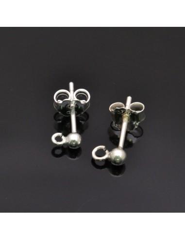 Base orecchini a perno con pallina 4 mm argento 925% 1 Paio