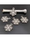 CIONDOLO Fiocco di Neve Charm Fiocco di Neve 15X20 MM 10Pz per bigiotteria