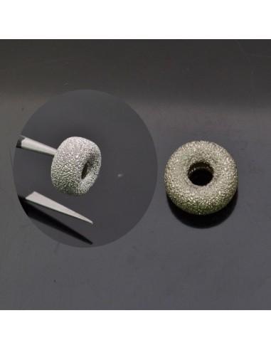 Distanziatore ciambella con brillantini 2x6 mm foro 4 mm 1pz in argento 925%
