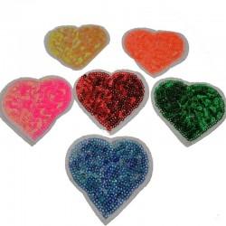 Toppe Toppa cuore con paillettes termoadesive 6cm Patch termoadesiva Applique cuore