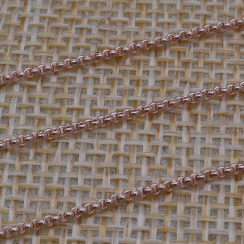 Catena Rolo in argento 925% placcato oro rosa 1 mm per 50 cm