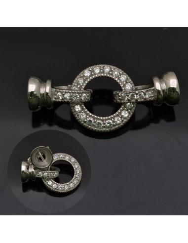 Chiusura Moschettone 15 mm anella con coppettine 8 mm a scatto con zirconi in argento 925%