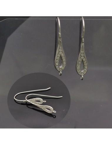 Monachelle piccole aperte con strass e anella 18x3 mm in argento 925%