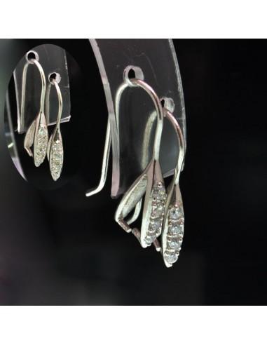 Monachelle base orecchini con gancio per pietre o pendenti 24x4mm in argento 925%