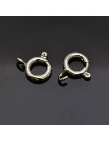 Chiusura moschettone tondo in argento 925% da 10 mm anella 4 mm 5pz