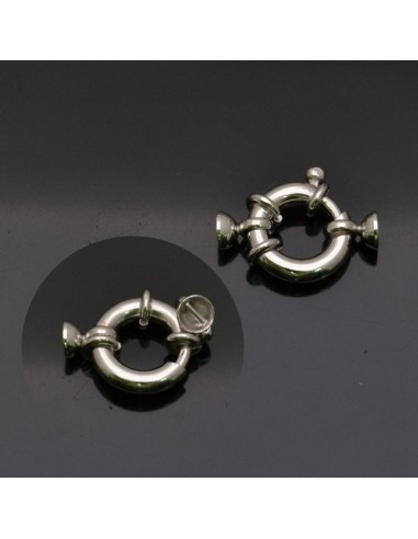 Chiusura moschettone con coppette in argento 925% da 13 mm coppette 4 mm