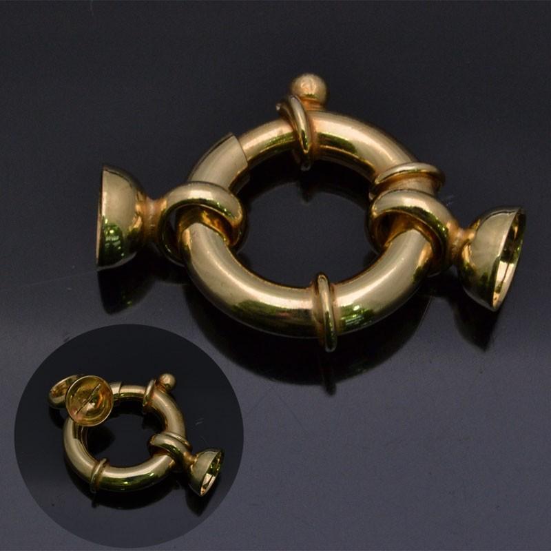 Chiusura moschettone con coppette in argento 925% da 20 mm coppetta 8 mm