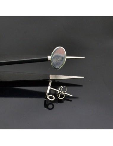 Orecchini a perno con piatto ovale in argento 925% da 10x7 mm anella 3 mm