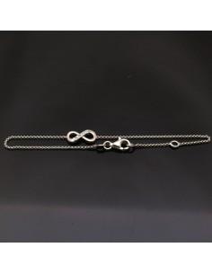 Bracciale con inframezzo infinito in argento 925% da 18,5 cm