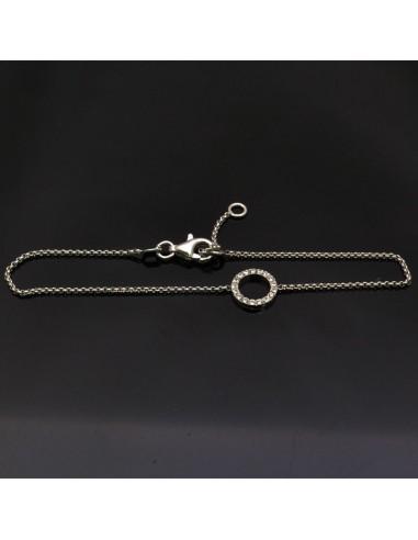 Bracciale con inframezzo cerchio in argento 925% da 19 cm