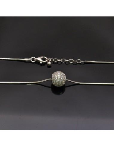 Collana con inframezzo palla in argento 925% da 22 cm palla 10 mm