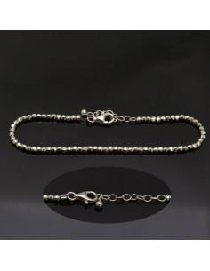 bracciale con perline sfaccettate 2 mm in argento 925% da 20 cm