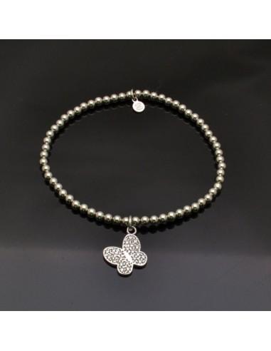 Bracciale elasticizzato e pallina 3 mm da 17 a 20 cm e Ciondolo Farfalla con brillantini 12x13 mm in argento 925%