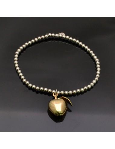 Bracciale elasticizzato e pallina 3 mm da 17 a 20 cm e Ciondolo Mela oro 18x15 mm in argento 925%