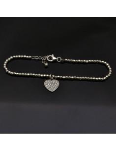 Bracciale con chiusura pallina 3 mm da 17 a 20 cm e Cuore 11x12 mm in argento 925%
