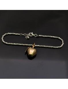Bracciale con chiusura pallina 3 mm da 17 a 20 cm e Ciondolo Mela oro 18x15 mm in argento 925%