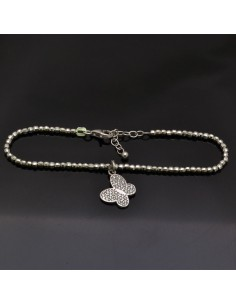 Bracciale con chiusura pallina 3 mm da 17 a 20 cm e Ciondolo Farfalla con brillantini 12x13 in argento 925%