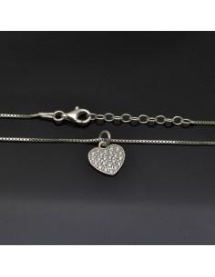 Collana con Ciondolo Cuore 11x12 mm con chiusura moschettone lunga 40 cm in argento 925%