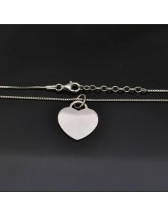 Collana con Ciondolo Cuore 19x18 mm con chiusura moschettone lunga 40 cm in argento 925%
