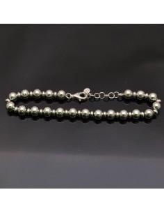 Bracciale con perle in argento 925% da 18 a 20 cm in argento 925%
