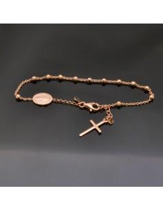 Bracciale Rosario con croce e crociera in argento 925% da 19 cm