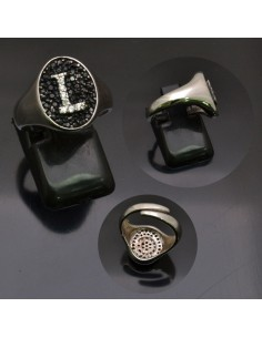 Anello con lettera iniziale L con brillantini regolabile in argento 925%