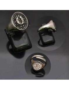 Anello con lettera iniziale O con brillantini regolabile in argento 925%