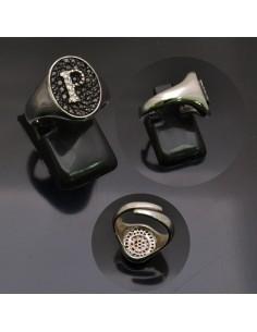 Anello con lettera iniziale P con brillantini regolabile in argento 925%