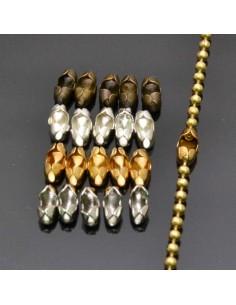 Chiusure Gancetti per Catena Pallina 1.2 mm 1.5mm bijoux 20pz