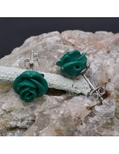Orecchini a lobo con Fiore in resina color verde in argento 925% da 11 mm