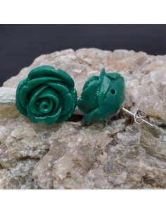 Orecchini a lobo con Fiore in resina color verde in argento 925% da 18 mm