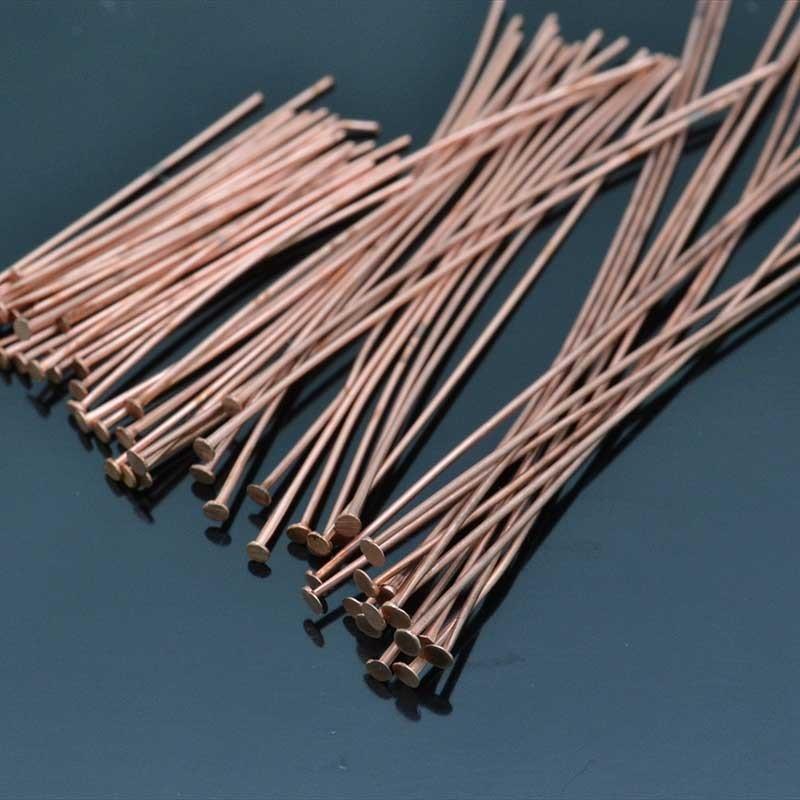 Chiodini a Testa Piatta in ottone col oro rosa chiaro filo 0.6mm testa 1.6 mm per bigiotteria
