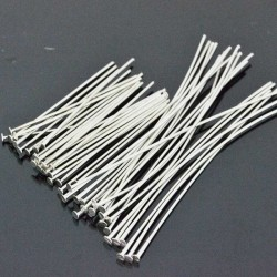 Chiodini a Testa Piatta in ottone col argento rodiato filo 0.6mm testa 1.6 mm per bigiotteria