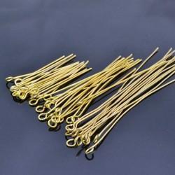 Chiodini Occhiello in Ottone oro Placcato e filo 0.65 mm occhiello 3.6 mm per bigiotteria