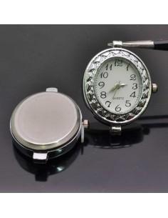 Base Orologio decorato ovale 28x34 col argento per Bracciale bigiotteria
