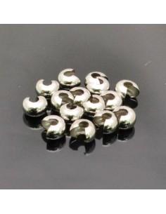 Coprischiaccini liscia in ottone placcata argento rodiato coprire gli schiaccini 4mm 5mm 6mm per bigiotteria