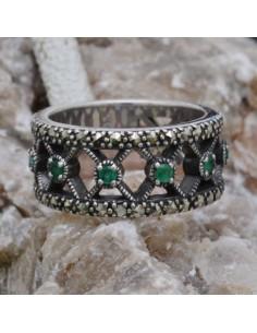 Anello incastonato con Smeraldi e Marcassite in argento 925%o Sterling Silver Anello thailandese