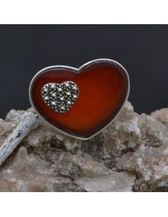 Anello a Cuore incastonato con Corniola e Marcassite in argento 925%o Sterling Silver Anello thailandese
