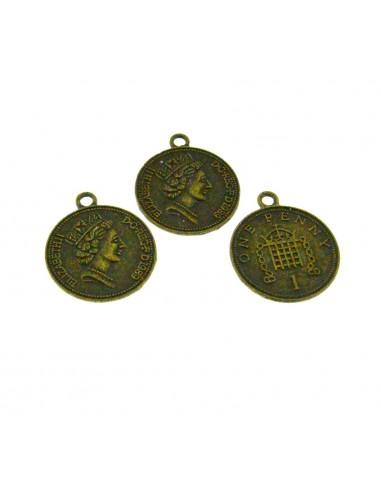 3 Pz. Ciondoli monetine bronzo