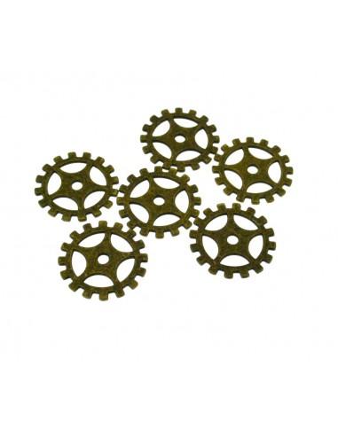6 Pz. Ciondoli ingranaggi bronzo
