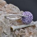 Anello sfera con strass lillà in argento 925% regolabile