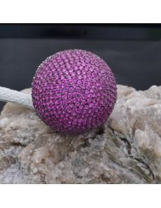 Anello sfera con zirconi fucsia in argento 925%